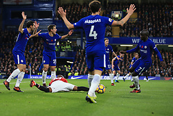 5 November 2017 -  Premier League - Chelsea v Manchester United - Chelsea players react as Ashley Young of Manchester United goes sprawling - Photo: Marc Atkins/Offside