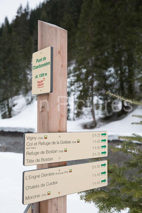 Pont De Chardonnière sign post in Morzine / Portes du Soleil ski area on 21st March 2017 in France
