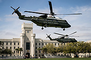 Marine Helicopter Squadron One lands two VH-92A Presidential Replacement helicopters on Summerall Field at The Citadel in Charleston, South Carolina on Tuesday, March 23, 2021. Credit: Cameron Pollack / The Citadel