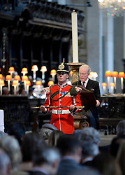 © London News Pictures. 18/06/2015. London, UK. <br /> Soldiers from across the Army, including many from the Household Division, were joined by His Royal Highness The Prince of Wales at a service of commemoration at St Paul's Cathedral to mark the 200th Anniversary of the Battle of Waterloo.   Photo credit: Corporal Andy Reddy/LNP