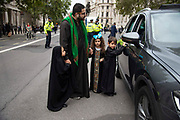Devote Shia Muslims commemorate the festival of Ashura in Whitehall, London, United Kingdom on 10th Spetember 2019. It marks the day that Husayn ibn Ali, the grandson of the Islamic prophet Muhammad, was martyred in the Battle of Karbala. Ashura is the tenth day of Muharram, the first month in the Islamic calendar.