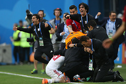 June 15, 2018 - Saint Petersburg, Russia - Players of Iran celebrate their side's win following the 2018 FIFA World Cup Russia group B match between Morocco and Iran at Saint Petersburg Stadium on June 15, 2018 in Saint Petersburg, Russia. (Credit Image: © Igor Russak/NurPhoto via ZUMA Press)