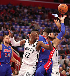 October 17, 2018 - Detroit, MI, USA - The Detroit Pistons' Bruce Brown, right, rebounds against the Brooklyn Nets' Caris LeVert (22) in the first period on Wednesday, Oct. 17, 2018, at Little Caesars Arena in Detroit. (Credit Image: © Kirthmon F. Dozier/Detroit Free Press/TNS via ZUMA Wire)