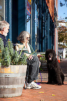 Portrait of couple and dog in Eureka, CA.
