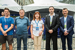 Jaka Lopatic of Siol.net, Zoran Jankovic, mayor of Ljubljana, Mojca Novak of Adria Mobil, Gregor Bizjak of Telekom Slovenije and Primoz Rot of Zavarovalnica Triglav posing after  the Stage 2 of 24th Tour of Slovenia 2017 / Tour de Slovenie from Ljubljana to Ljubljana (169,9 km) cycling race on June 16, 2017 in Slovenia. Photo by Vid Ponikvar / Sportida