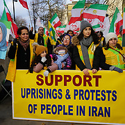 Anti Rouhani regime protest outside Downing Street, London, UK
