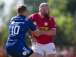 June 16, 2018 - Ottawa, ON, U.S. - OTTAWA, ON - JUNE 16: Ray Barkwill (2 Hooker) of Canada establishes position against a Russian defender in the Canada versus Russia international Rugby Union action on June 16, 2018, at Twin Elms Rugby Park in Ottawa, Canada. Russia won the game 43-20. (Photo by Sean Burges/Icon Sportswire) (Credit Image: © Sean Burges/Icon SMI via ZUMA Press)