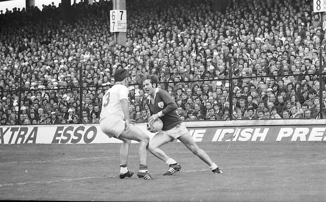 Galway tries to get around Cork during the All Ireland Senior Gaelic Football Championship Final Cork v Galway in Croke Park on the 23rd September 1973. Cork 3-17 Galway 2-13.