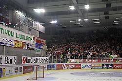Ultras - fans of Jesenice at ice hockey match ZM Olimpija  vs Acroni Jesencie in fourth round of the final of Slovenian National Championship,  on April 9, 2008 in Arena Tivoli, Ljubljana, Slovenia. Acroni Jesenice won the game 2:1 and won the series 4:0. Acroni Jesenice became Slovenian Championship Winner. (Photo by Vid Ponikvar / Sportal Images)