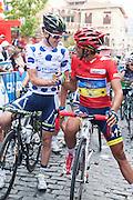Simon Clarke and Alberto Contador at the starting line of the Vuelta de EspaÒa 2012 for the last step