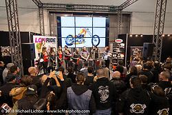 The LowRide Magazine awards presentation for their custom bike show during Motor Bike Expo. Verona, Italy. January 24, 2016.  Photography ©2016 Michael Lichter.