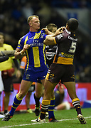 Warrington Wolves KEVIN BROWN scuffles with Brisbane Broncos DAVID MEAD during the Dacia World Club Series match Warrington Wolves -V- Brisbane Broncos at Halliwell Jones Stadium , Warrington, Cheshire, England on February 18, 2017. (Steve Flynn/Image of Sport)