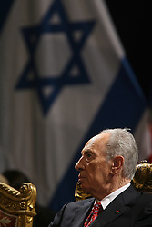 Israeli President Shimon Peres attends a meeting at the city hall in Paris, France on March 11, 2008. Shimon Peres began a state visit on March 10, 2008, seeking warmer ties with France, despite his host Nicolas Sarkozy calling for a halt to Jewish settlements in the occupied territories. Photo by Abd-Rabbo-Mousse-Orban/ABACAPRESS.COM