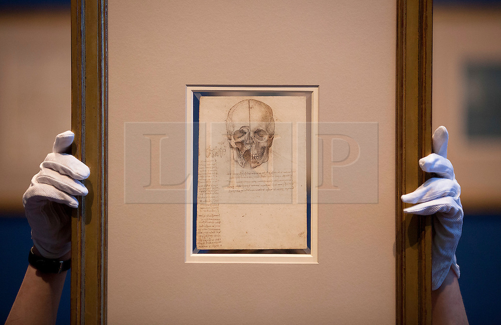© Licensed to London News Pictures. 30/04/2012. LONDON, UK. Leonardo da Vinci's 'A skull sectioned' from 1489 is seen at the Royal Gallery in London today (30/03/12). Featuring 87 pages of sketches from the artist's notebooks the exhibition, entitled 'Leonardo da Vinci: Anatomist', is the largest ever of his anatomical work and opens at The Queen's Gallery in London on Friday the 4th of May. Photo credit: Matt Cetti-Roberts/LNP