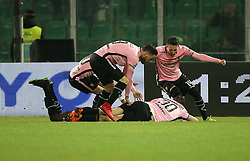 March 10, 2018 - Palermo, Sicily, Italy - Eddy Gnahore' of Palermo celebrates after scoring the opening goal uring the serie B match between US Citta di Palermo and Frosinone at Stadio Renzo Barbera on March 10, 2018 in Palermo, Italy.Y  (Credit Image: © Gabriele Maricchiolo/NurPhoto via ZUMA Press)