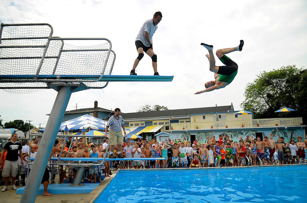 Wrestlers perform for the large crowd gathered at World Wrestling Day held at Seashore Day Camp in Long Branch on July 13, 2012. Professional wrestlers competed against each other for campers of all ages.