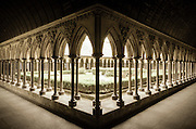 The abbey cloister, Mont Saint-Michel, Normandy, France