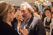 HOWARD JACOBSON, David Campbell Publisher of Everyman's Library and Champagen Bollinger celebrate the completion of the Everyman Wodehouse in 99 volumes and the 2015 Bollinger Everyman Wodehouse prize shortlist. The Archive Room, The Goring Hotel. London. 20 April 2015.