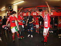 20100509: LISBON, PORTUGAL - SL Benfica vs Rio Ave: Portuguese League 2009/2010, 30th round. Players celebrations in the locker room. In picture: David Luiz, Sidnei, Julio Cesar, Weldon. PHOTO: CITYFILES