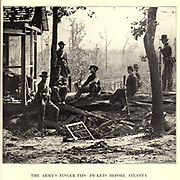 Federal picket post on the lines before Atlanta. This picture was taken shortly before the battle of July 22d. from the book ' The Civil war through the camera ' hundreds of vivid photographs actually taken in Civil war times, sixteen reproductions in color of famous war paintings. The new text history by Henry W. Elson. A. complete illustrated history of the Civil war