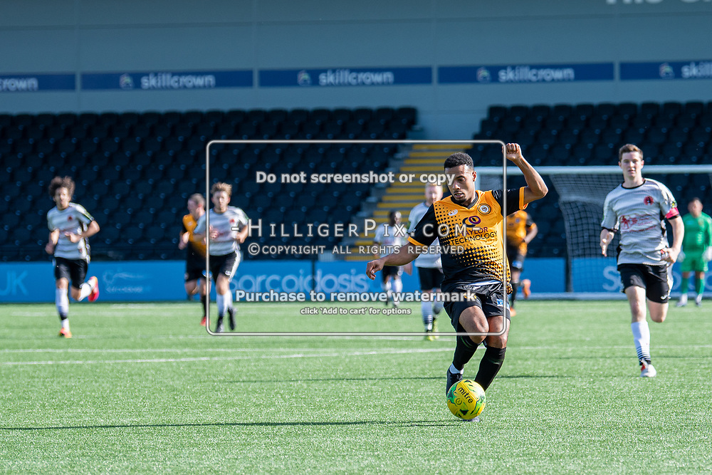 BROMLEY, UK - SEPTEMBER 08: Jerome Federico, of Cray Wanderers FC, breaks forward during the Emirates FA Cup First Qualifying Round match between Cray Wanderers FC and Bedfont Sports Club at Hayes Lane on September 8, 2019 in Bromley, UK. <br /> (Photo: Jon Hilliger)