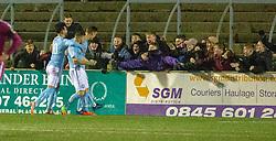 Forfar Athletic's John Baird cele scoring their second goal. Forfar Athletic 2 v 3 Arbroath, Scottish Football League Division One played 8/12/2018 at Forfar Athletic's home ground, Station Park, Forfar.
