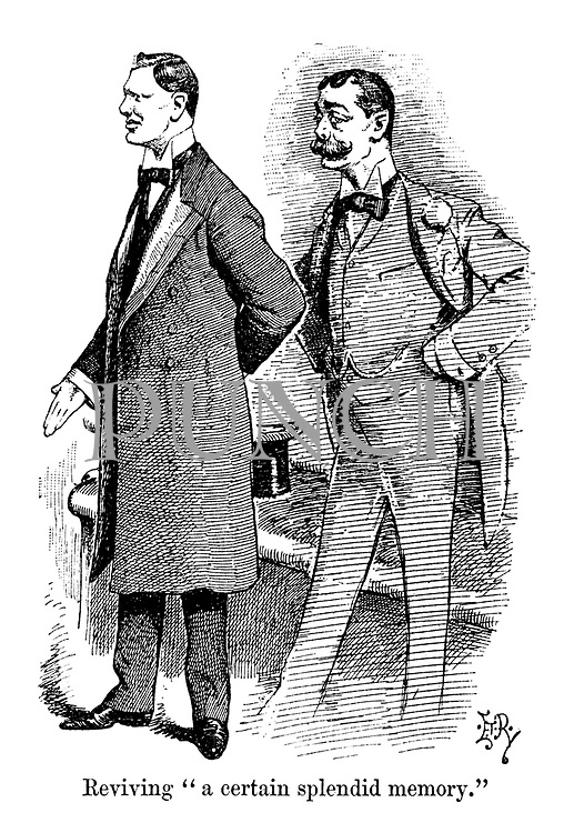 "Reviving ""a certain splendid memory."" (an Edwardian cartoon shows a young Winston Churchill making a speech in the House of Commons with the ghost of his father Randolph Churchill behind him)"