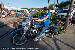 AJ riding in the Weir's during Laconia Motorcycle Week. Laconia, NH, USA. June 13, 2015.  Photography ©2015 Michael Lichter.