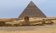 The Great Sphinx and Khafre's pyramid at Giza