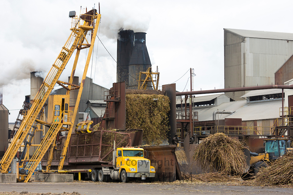 Sugarcane production factory St Mary Sugar Cooperative Sugar Mill processing raw sugar at Jeanerette, Louisiana, USA