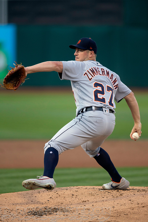 Sep 7, 2019; Oakland, CA, USA; Detroit Tigers starting pitcher Jordan Zimmermann (27) during the first inning of a baseball game at Oakland Coliseum. Mandatory Credit: D. Ross Cameron-USA TODAY Sports