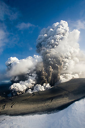 The view from a helicopter of the cloud of ash from the Eyjafjallajoekull erupting volcano in Iceland. .©2010 Michael Schofield. All Rights Reserved.