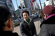 Kiyoko Hosokawa campaingning for her husband, the anti-nuclear candidate and former Prime Minister, Morihiro Hosokawa, in the 2014 Tokyo Gubernatorial Elections. Ikebukero, Tokyo, Japan. Friday, February 7th 2014