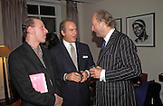 William Sieghart, Charles Finch and Ed Victor, Party to celebrate the publication of 'Rita's Culinary Trickery' by Rita Konig. Morton's. 18 November 2004.  ONE TIME USE ONLY - DO NOT ARCHIVE  © Copyright Photograph by Dafydd Jones 66 Stockwell Park Rd. London SW9 0DA Tel 020 7733 0108 www.dafjones.com