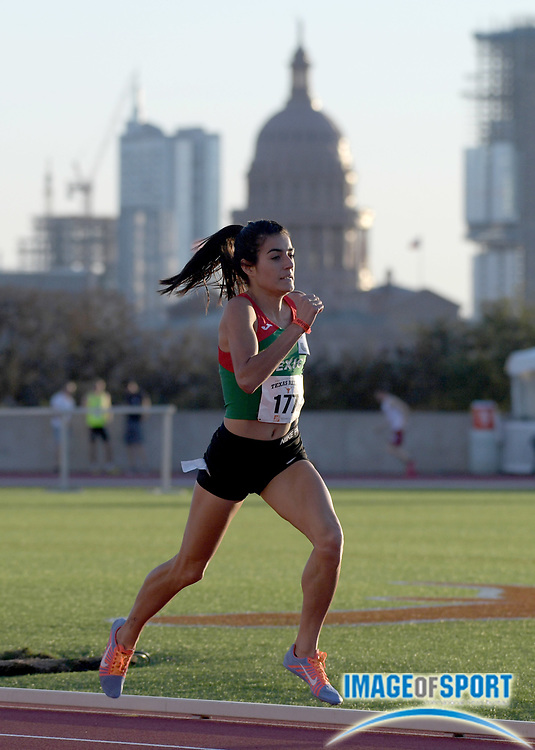 Mar 29, 2018; Austin, TX, USA; Ana-Rosa Gomez-Velazquez <br /> of Atletismo Guanajuatense wins women's 800m heat in 2:07.31 with the Texas State Capitol building and downtown Austin skyline as a backdrop during the 91st Clyde Littlefield Texas Relays at Mike A. Myers Stadium.