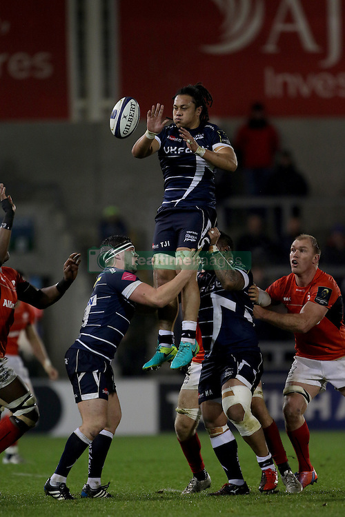 Sale Sharks TJ Ioane wins a line out during the European Champions Cup, pool three mach at the AJ Bell Stadium, Salford.