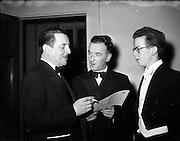 04/02/1953<br /> 02/04/1953<br /> 04 February 1953<br /> Cumann Gaelach Inaugural at UCD. Con O'Liathain solicitor, unknown and Michael O'Riain.