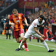 Galatasaray's Burak Yilmaz (L) during their Turkish Super League soccer match Galatasaray between Genclerbirligi at the AliSamiYen Spor Kompleksi TT Arena at Seyrantepe in Istanbul Turkey on Saturday, 16 May 2015. Photo by Kurtulus YILMAZ/TURKPIX