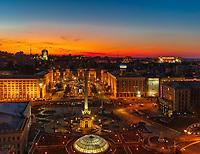 Kiev , Ukraine - August 30, 2019 : Maidan square skyline cityscape Landmark