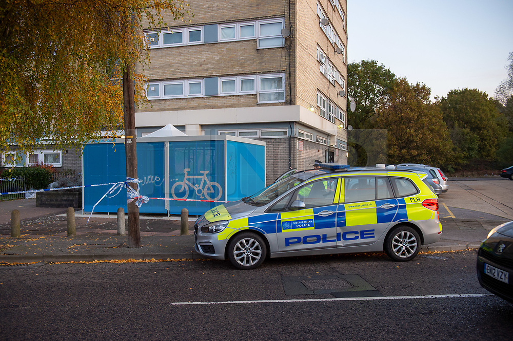 © Licensed to London News Pictures. 20/11/2019. Ilford, UK. A police car sits at the crime scene where a teenager has been stabbed to death. Police were called at 22:20hrs on Tuesday, 19 November to Fullwell Avenue, Ilford, following reports of a fight outside Owen Waters House. Officers attended and found a 19-year-old man suffering from stab injuries. Police administered first aid before paramedics from the London Ambulance Service arrived. However despite their best efforts, the victim died at the scene. Photo credit: Peter Manning/LNP