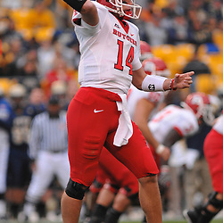Oct 25, 2008; Heinz Field, PA, USA; Rutgers quarterback Mike Teel (14) passes to Tiquan Underwood (not pictured) for a first down on the first offensive play of the game at Heinz Field.