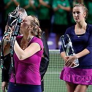 Petra Kvitova (L) of Czech Republic holds up the trophy after she won the final match against Victoria Azarenka (R) of Belarus at the WTA Championships tennis tournament in Istanbul, Turkey on 30 October 2011. Photo by TURKPIX
