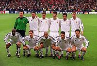 Fotball<br /> Real Madrid Feature<br /> Foto: Colorsport/Digitalsport<br /> NORWAY ONLY<br /> <br /> The Real Madrid team. Back row (L>R) Dominguez Casar, Fernando Hierro, Ivan Helguera, Santiago Solari, Luis Figo, Zinedine Zidane. Front Row (L>R) Claude Makelele, Michel Salgado, Roberto Carlos, Raul and Fernando Morientes. Real Madrid v Bayer Leverkusen. The European Champions League Cup Final. Hampden Park, 15/5/02