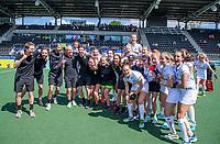 AMSTELVEEN -  Vreugde bij Belgie na de dames -wedstrijd voor de derde plaats ,  Belgie-Spanje (3-1) bij het  EK hockey , Eurohockey 2021. Belgie wint brons. COPYRIGHT KOEN SUYK