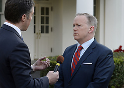 July 21, 2017 - (File Photo) - White House press secretary Sean Spicer has resigned on Friday, after President Trump named a Wall Street financier as his top communications official. PICTURED: April 11, 2017 - Washington, District of Columbia, U.S. - White House Press Secretary SEAN SPICER apologizes for comments he made during his daily briefing related to Hitler during a TV interview at the White House. (Credit Image: © Olivier Douliery/Pool/CNP via ZUMA Wire)