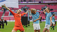 Football - 2019 SSE Women's FA Cup Final - Manchester City vs. West Ham United<br /> <br /> Manchester City players Karen Bardsley (Manchester City), Abbie McManus (Manchester City) and Caroline Weir (Manchester City) pose with the trophy at Wembley Stadium.<br /> <br /> COLORSPORT/DANIEL BEARHAM