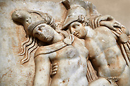 Detail of a Roman Sebasteion relief sculpture of Achilles and a dying Amazon, Aphrodisias Museum, Aphrodisias, Turkey.   Against an art background. <br /> <br /> Achilles supports the dying Amazon queen Penthesilea whom he has mortally wounded. Her double headed axe slips from her hands. The queen had come to fight against the Greeks in the Trojan war and Achilles fell in love with her. .<br /> <br /> If you prefer to buy from our ALAMY STOCK LIBRARY page at https://www.alamy.com/portfolio/paul-williams-funkystock/greco-roman-sculptures.html . Type -    Aphrodisias     - into LOWER SEARCH WITHIN GALLERY box - Refine search by adding a subject, place, background colour, museum etc.<br /> <br /> Visit our ROMAN WORLD PHOTO COLLECTIONS for more photos to download or buy as wall art prints https://funkystock.photoshelter.com/gallery-collection/The-Romans-Art-Artefacts-Antiquities-Historic-Sites-Pictures-Images/C0000r2uLJJo9_s0