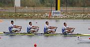Marathon, GREECE,  EST M4X, Bow, Allar RAJA, Andrij JAEMSAE, Tonu ENDREKSON and Jeuri JANNSON, winning the final of the men's quadruple sculls, at the FISA European Rowing Championships.  Lake Schinias Rowing Course, SAT. 20.09.2008  [Mandatory Credit Peter Spurrier/ Intersport Images] , Rowing Course; Lake Schinias Olympic Rowing Course. GREECE