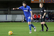 AFC Wimbledon midfielder Anthony Wordsworth (40) with a shot on goal during the EFL Trophy group stage match between AFC Wimbledon and Stevenage at the Cherry Red Records Stadium, Kingston, England on 6 November 2018.