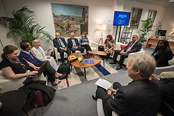 9 December 2019, Madrid, Spain: Religious leaders from a variety of faiths meet to hand over an interfaith declaration to Ovais Sarmad, deputy executive secretary of the UNFCCC, at COP25. Here, Jayanti Murli Kirpalani from Brahma Kumaris (left).